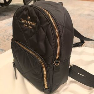 AUTHENTIC Kate Spade Black Nylon Backpack w/ Gold